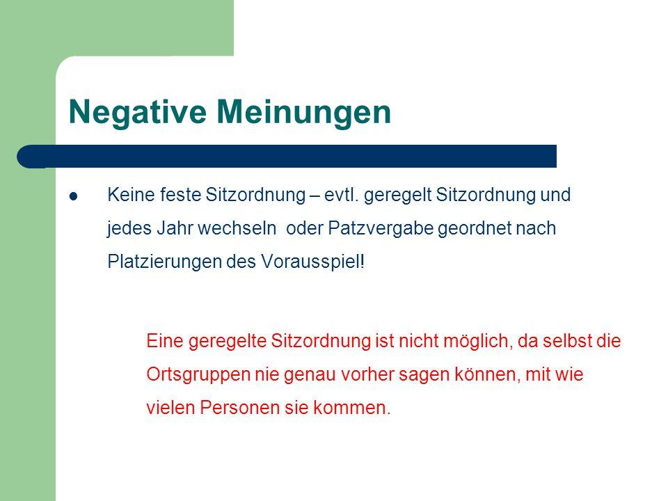 Negative Meinungen Keine feste Sitzordnung – evtl.