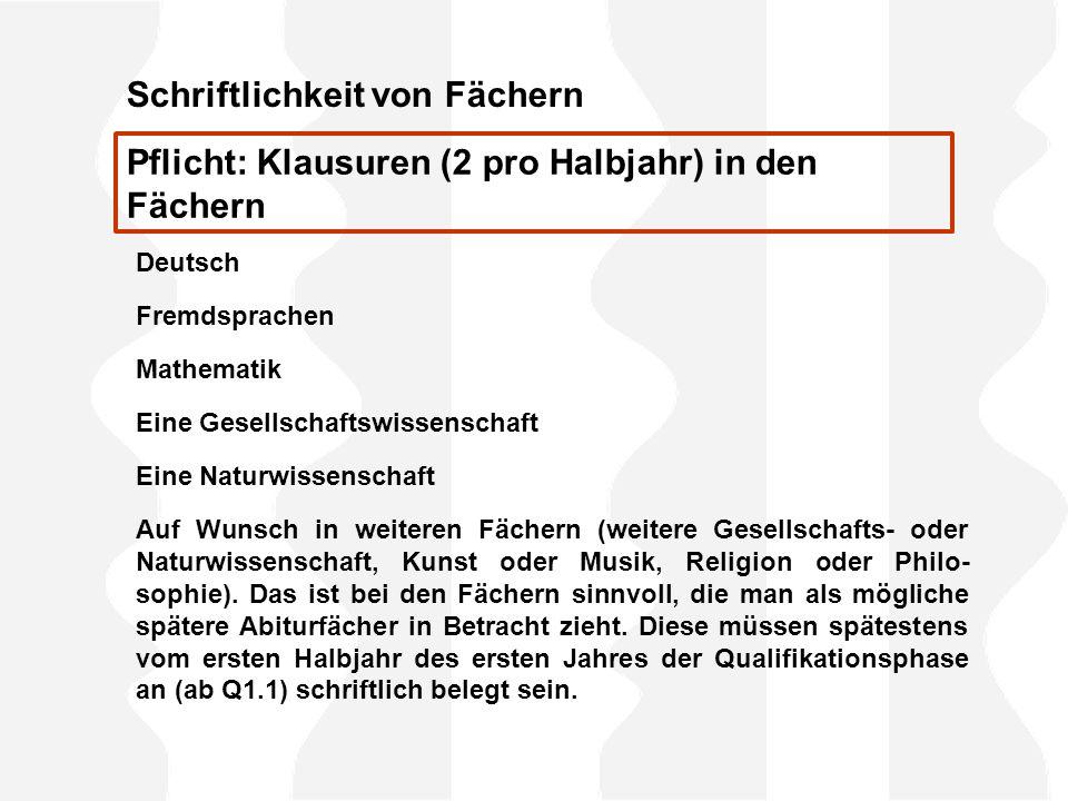 Schriftlichkeit von Fächern Deutsch Fremdsprachen Mathematik Eine Gesellschaftswissenschaft Eine Naturwissenschaft Auf Wunsch in weiteren Fächern (wei