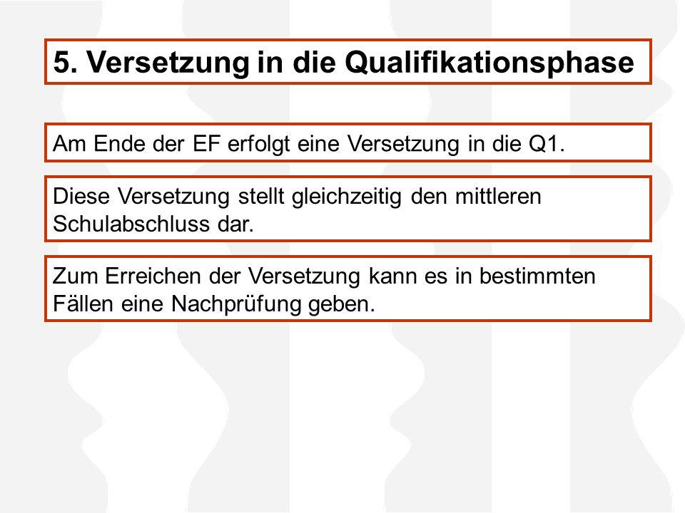 5. Versetzung in die Qualifikationsphase Am Ende der EF erfolgt eine Versetzung in die Q1. Diese Versetzung stellt gleichzeitig den mittleren Schulabs