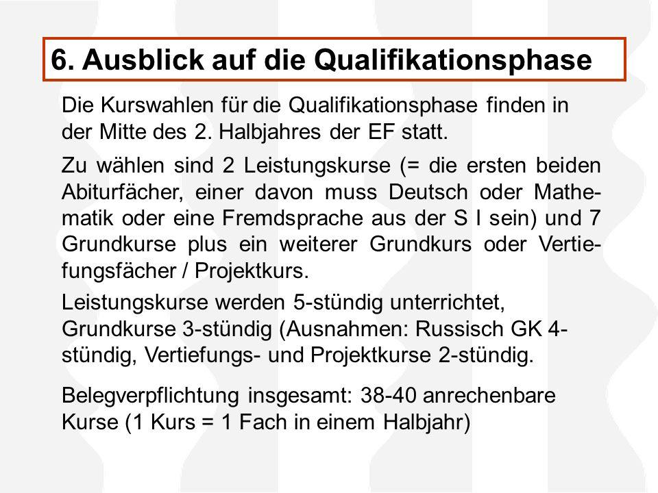 6. Ausblick auf die Qualifikationsphase Die Kurswahlen für die Qualifikationsphase finden in der Mitte des 2. Halbjahres der EF statt. Zu wählen sind