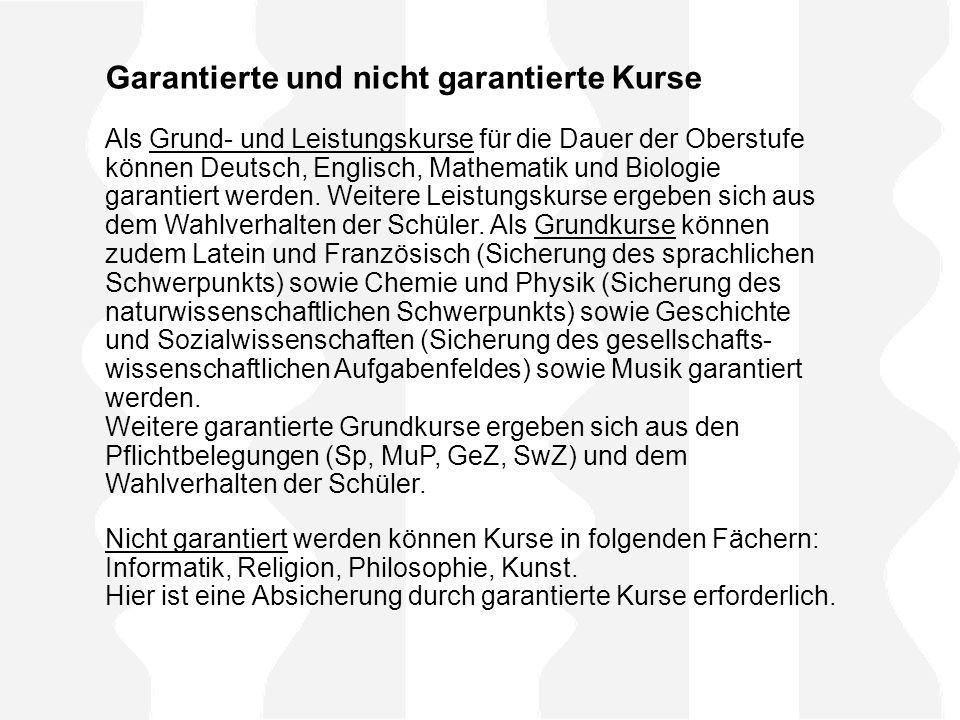 Garantierte und nicht garantierte Kurse Als Grund- und Leistungskurse für die Dauer der Oberstufe können Deutsch, Englisch, Mathematik und Biologie ga
