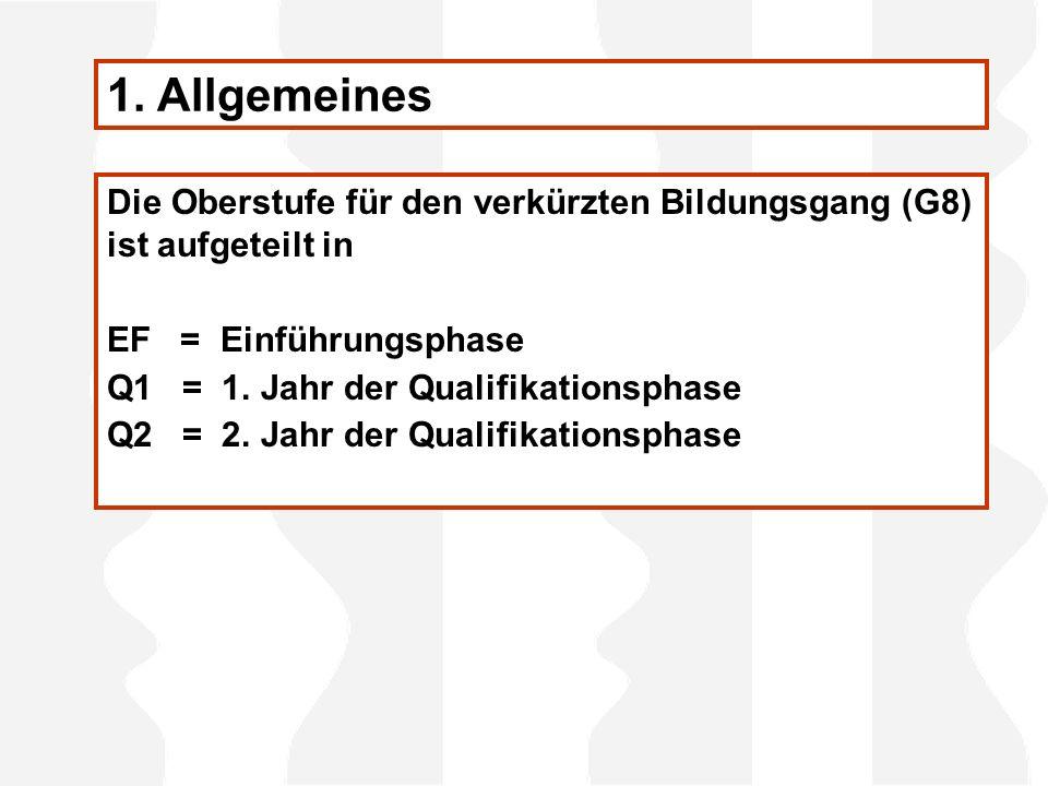 Die Oberstufe für den verkürzten Bildungsgang (G8) ist aufgeteilt in EF = Einführungsphase Q1 = 1. Jahr der Qualifikationsphase Q2 = 2. Jahr der Quali