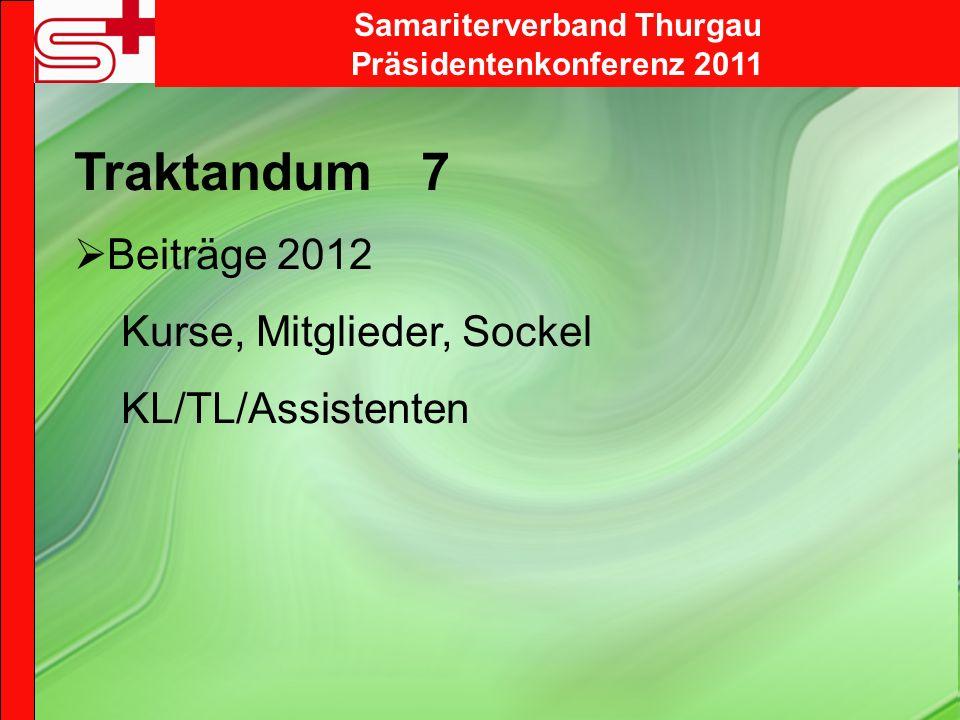 Samariterverband Thurgau Präsidentenkonferenz 2011 Traktandum 7 Beiträge 2012 Kurse, Mitglieder, Sockel KL/TL/Assistenten