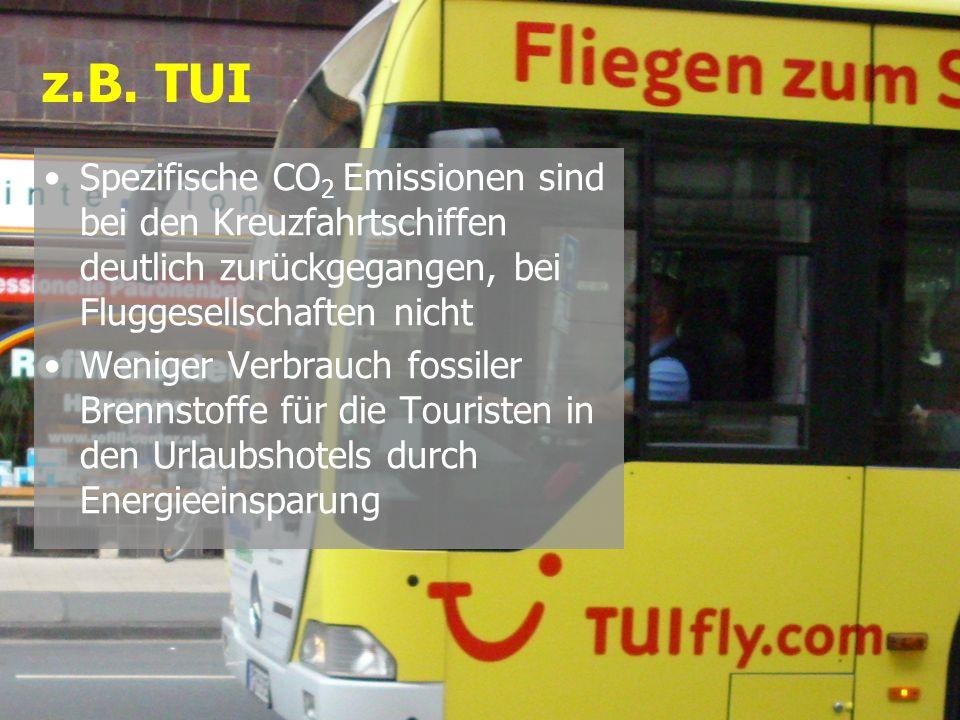 Spezifische CO 2 Emissionen sind bei den Kreuzfahrtschiffen deutlich zurückgegangen, bei Fluggesellschaften nicht Weniger Verbrauch fossiler Brennstof