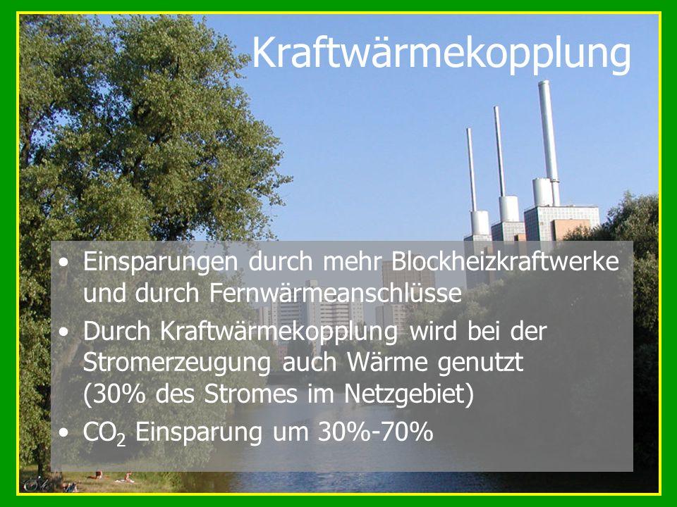 Kraftwärmekopplung Einsparungen durch mehr Blockheizkraftwerke und durch Fernwärmeanschlüsse Durch Kraftwärmekopplung wird bei der Stromerzeugung auch