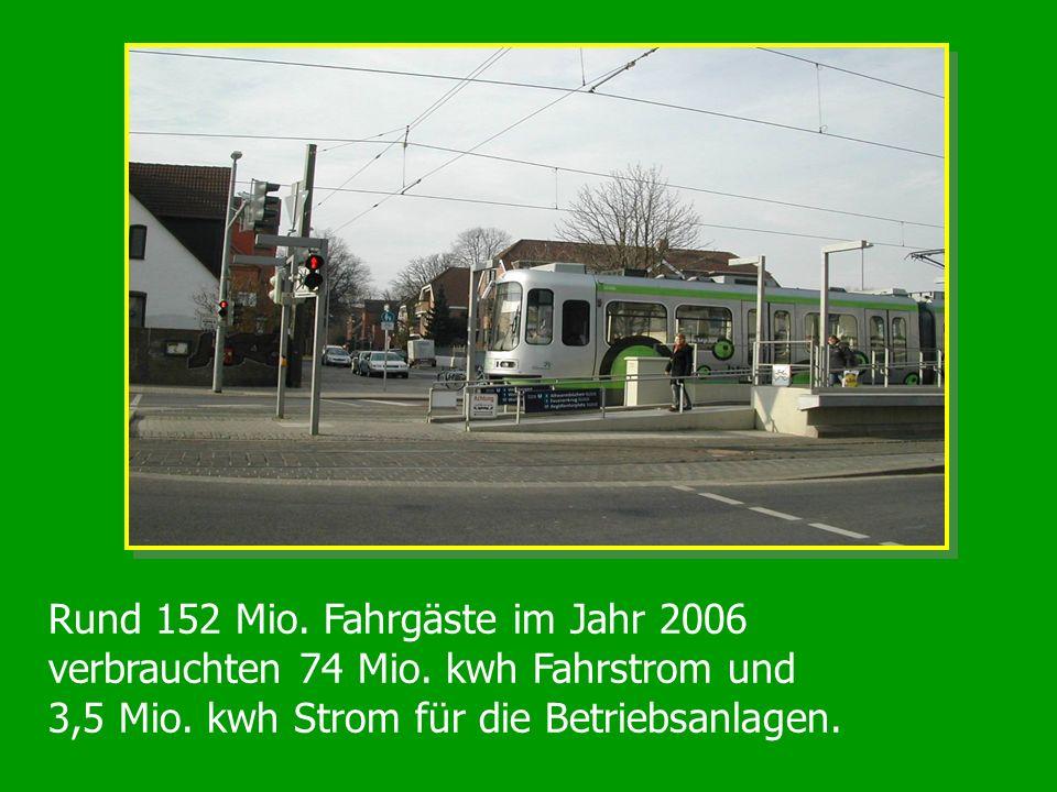 Rund 152 Mio. Fahrgäste im Jahr 2006 verbrauchten 74 Mio. kwh Fahrstrom und 3,5 Mio. kwh Strom für die Betriebsanlagen.