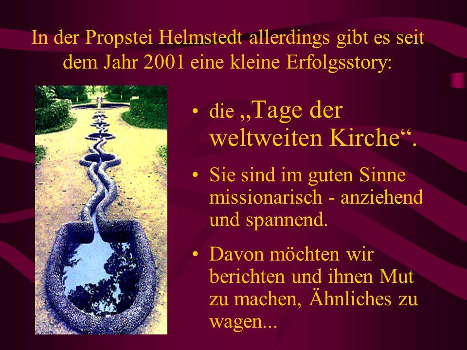 In der Propstei Helmstedt allerdings gibt es seit dem Jahr 2001 eine kleine Erfolgsstory: die Tage der weltweiten Kirche.
