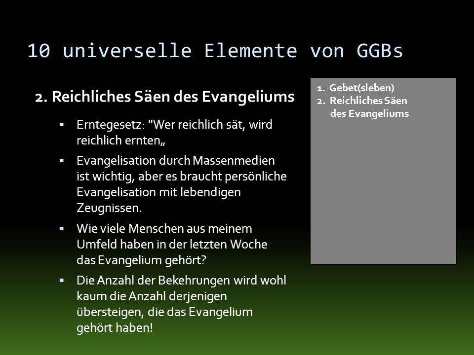 10 universelle Elemente von GGBs 2. Reichliches Säen des Evangeliums 1. Gebet(sleben) 2. Reichliches Säen des Evangeliums Erntegesetz: