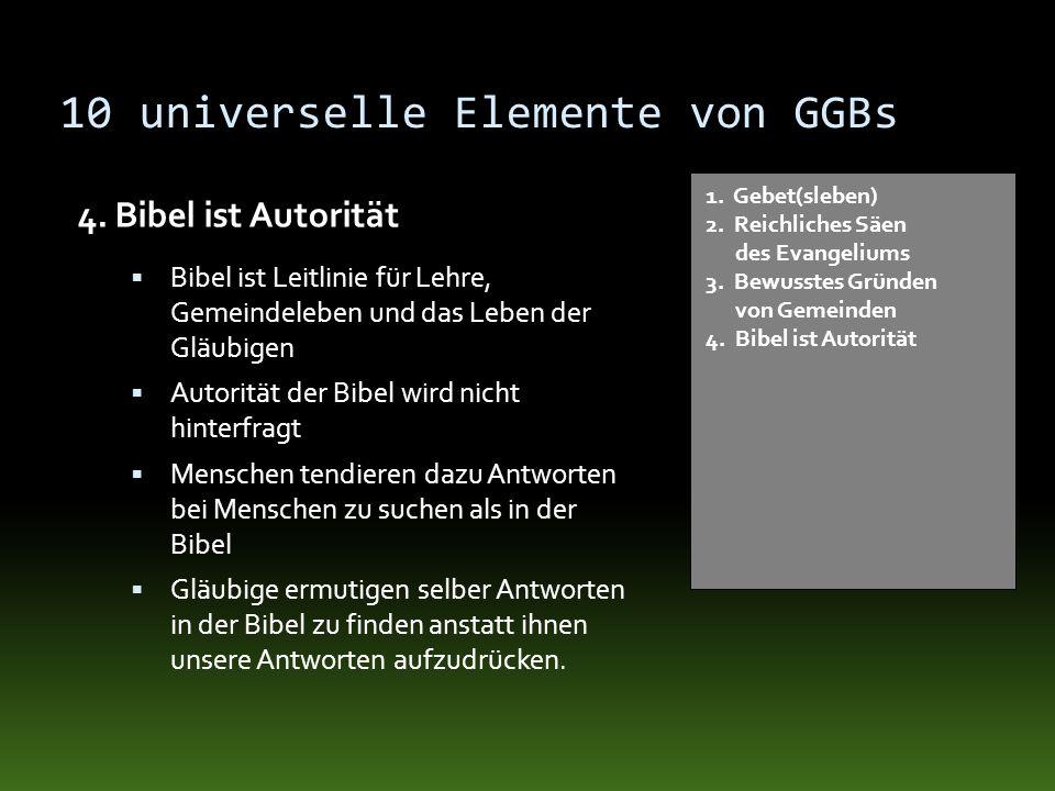 10 universelle Elemente von GGBs 4. Bibel ist Autorität 1. Gebet(sleben) 2. Reichliches Säen des Evangeliums 3. Bewusstes Gründen von Gemeinden 4. Bib