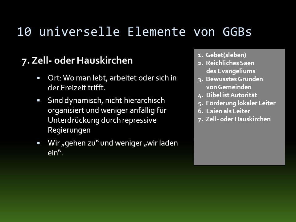 10 universelle Elemente von GGBs 7. Zell- oder Hauskirchen 1. Gebet(sleben) 2. Reichliches Säen des Evangeliums 3. Bewusstes Gründen von Gemeinden 4.