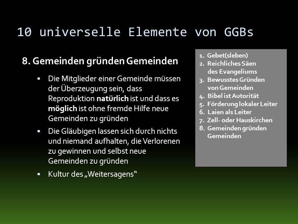 10 universelle Elemente von GGBs 8. Gemeinden gründen Gemeinden 1. Gebet(sleben) 2. Reichliches Säen des Evangeliums 3. Bewusstes Gründen von Gemeinde