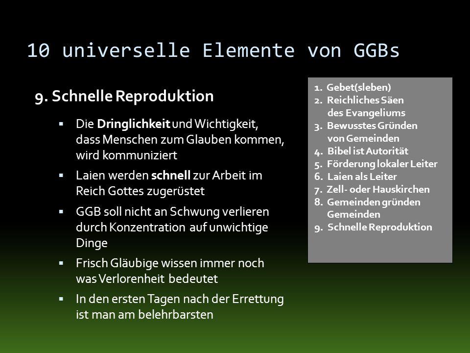 10 universelle Elemente von GGBs 9. Schnelle Reproduktion 1. Gebet(sleben) 2. Reichliches Säen des Evangeliums 3. Bewusstes Gründen von Gemeinden 4. B