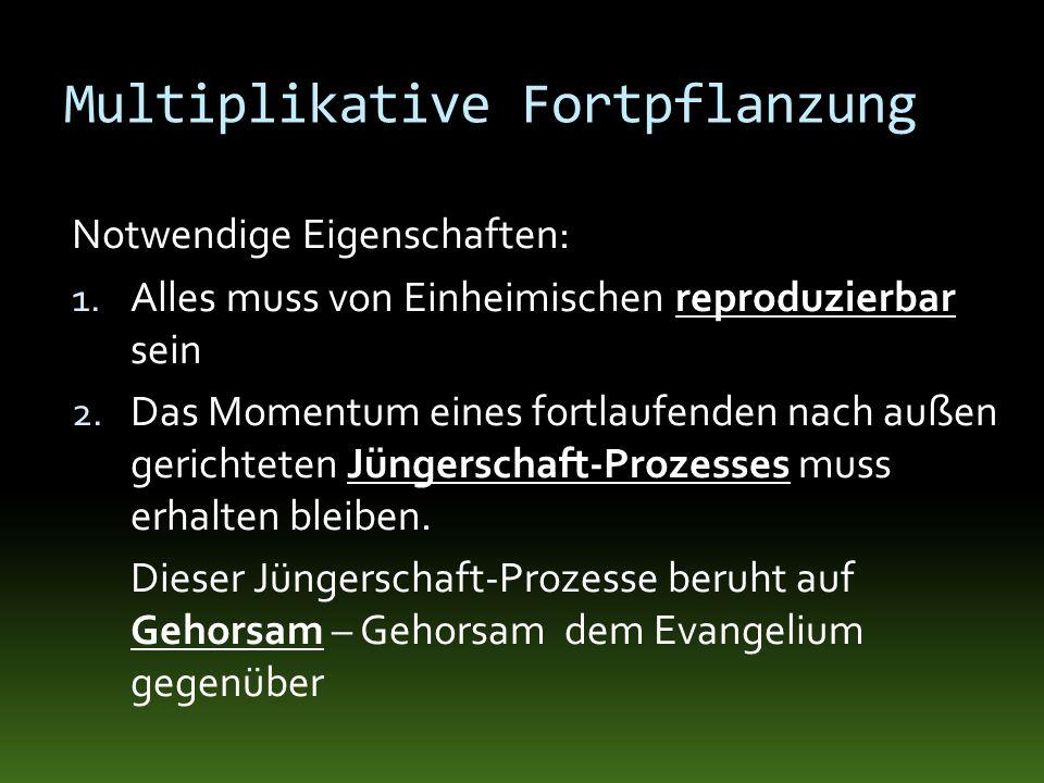 Multiplikative Fortpflanzung Notwendige Eigenschaften: 1. Alles muss von Einheimischen reproduzierbar sein 2. Das Momentum eines fortlaufenden nach au