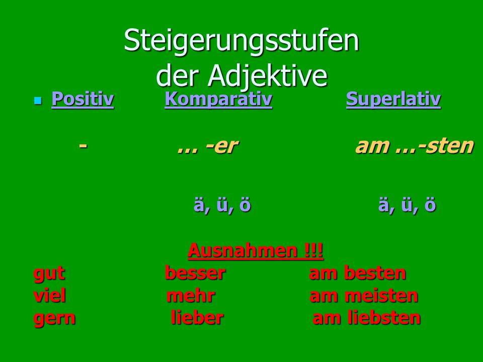Steigerungsstufen der Adjektive Positiv Komparativ Superlativ Positiv Komparativ Superlativ - … -er am …-sten - … -er am …-sten ä, ü, ö ä, ü, ö ä, ü,