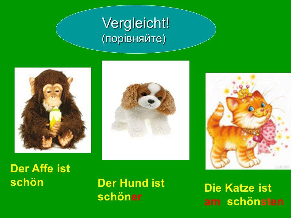 Der Affe ist schön Der Hund ist schöner Die Katze ist am schönsten Vergleicht! (порівняйте)