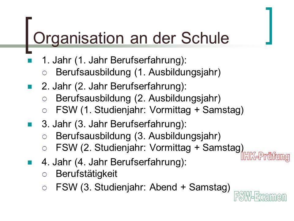 Organisation an der Schule 1. Jahr (1. Jahr Berufserfahrung): Berufsausbildung (1. Ausbildungsjahr) 2. Jahr (2. Jahr Berufserfahrung): Berufsausbildun