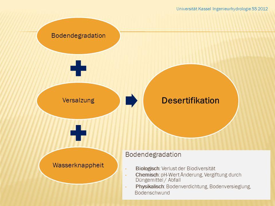 BodendegradationVersalzungWasserknappheit Desertifikation Bodendegradation Biologisch: Verlust der Biodiversität Chemisch: pH-Wert Änderung, Vergiftun