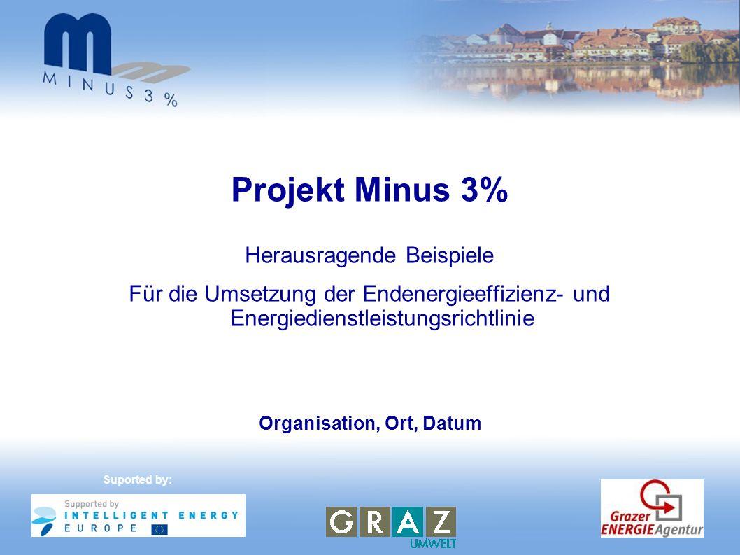 Zentrales Energiemanagement- system (CEMS) - Maribor BEGINN DER AKTIONSeptember 2010 UMGESETZTE MASSNAHMEN Der Online-Energiemanager ermöglicht, mit Hilfe eines Internet- Zugangs, die Eingabe der Energieverbrauchsdaten, die Abbildung der Outputs in einem benutzerfreundlichen Format, die Sammlung von Informationen & docs und die Präsentation der Ergebnisse für ein breites Publikum HÖHE DER INVESTITION 45.000 EUR ENERGIEEINSPARUNGEN EINSPARUNGEN FÜR DIE EINRICHTUNG 779.140 kWh/Jahr 3 % EINFACHE AMORTISATIONSDAUER 0,5 Jahre