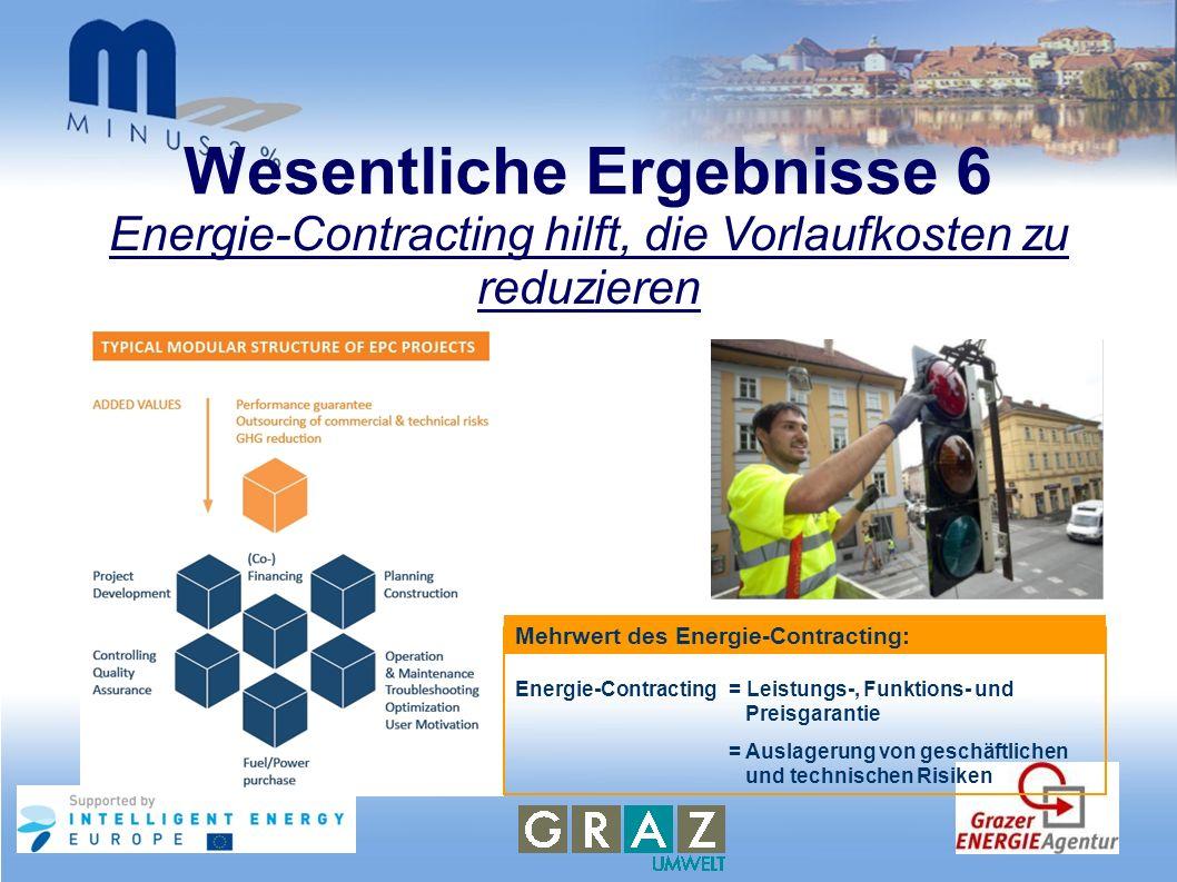 Wesentliche Ergebnisse 6 Energie-Contracting hilft, die Vorlaufkosten zu reduzieren Energie-Contracting = Leistungs-, Funktions- und Preisgarantie = A