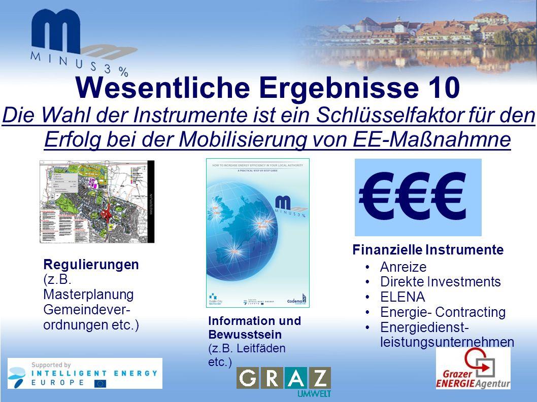 Wesentliche Ergebnisse 10 Die Wahl der Instrumente ist ein Schlüsselfaktor für den Erfolg bei der Mobilisierung von EE-Maßnahmne Regulierungen (z.B. M