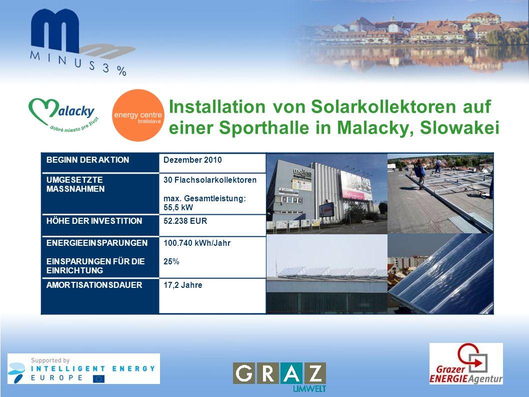 Installation von Solarkollektoren auf einer Sporthalle in Malacky, Slowakei BEGINN DER AKTIONDezember 2010 UMGESETZTE MASSNAHMEN 30 Flachsolarkollekto
