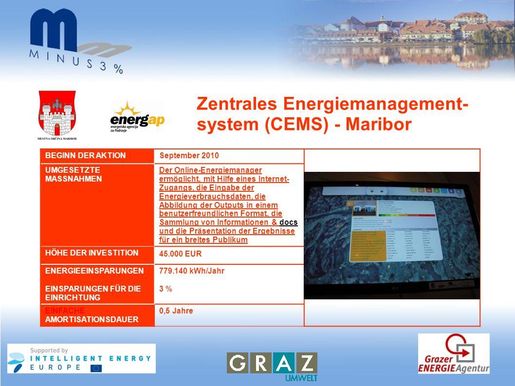 Zentrales Energiemanagement- system (CEMS) - Maribor BEGINN DER AKTIONSeptember 2010 UMGESETZTE MASSNAHMEN Der Online-Energiemanager ermöglicht, mit H