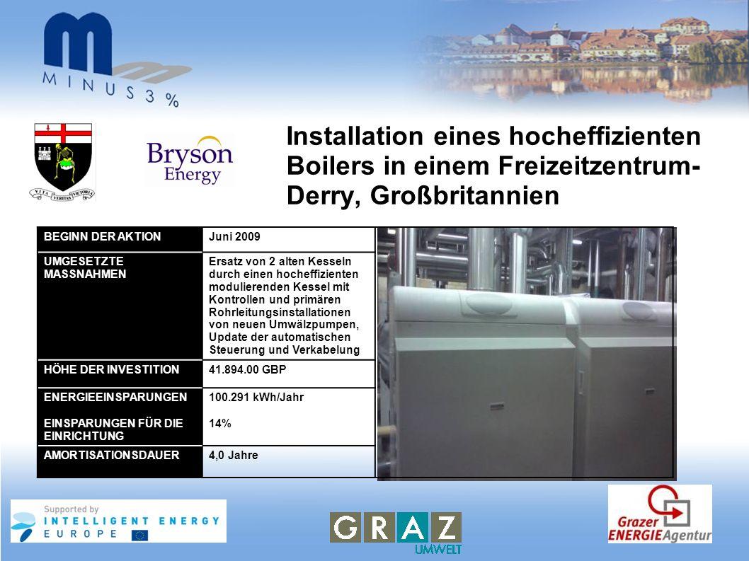 Installation eines hocheffizienten Boilers in einem Freizeitzentrum- Derry, Großbritannien BEGINN DER AKTIONJuni 2009 UMGESETZTE MASSNAHMEN Ersatz von