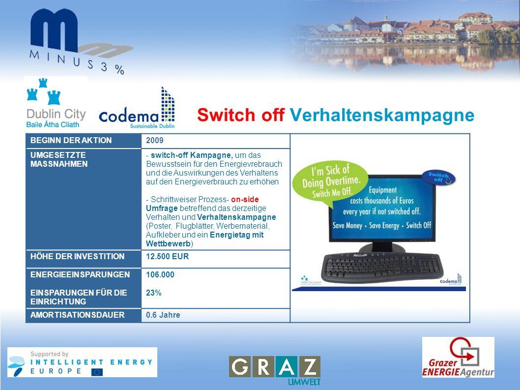 Switch off Verhaltenskampagne BEGINN DER AKTION2009 UMGESETZTE MASSNAHMEN - switch-off Kampagne, um das Bewusstsein für den Energievrebrauch und die A