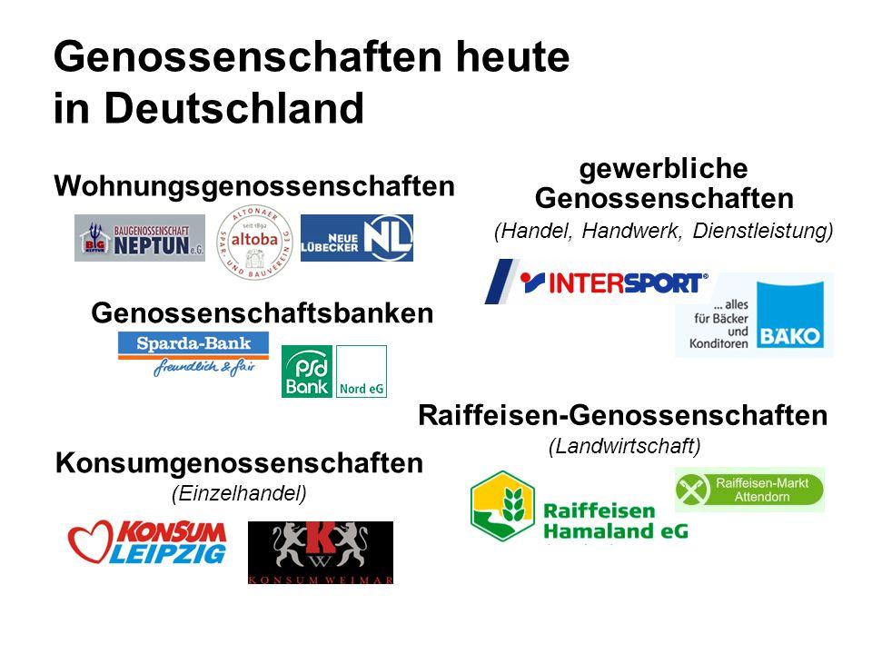 Genossenschaften heute in Deutschland Wohnungsgenossenschaften Genossenschaftsbanken Raiffeisen-Genossenschaften (Landwirtschaft) gewerbliche Genossenschaften (Handel, Handwerk, Dienstleistung) Konsumgenossenschaften (Einzelhandel)