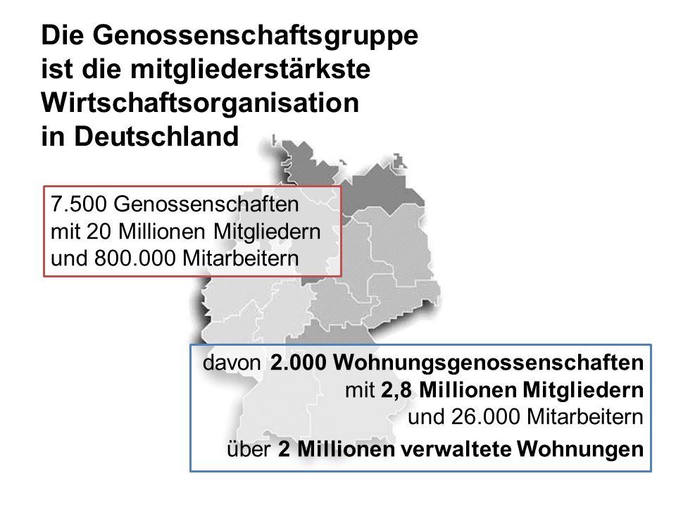 Die Genossenschaftsgruppe ist die mitgliederstärkste Wirtschaftsorganisation in Deutschland 7.500 Genossenschaften mit 20 Millionen Mitgliedern und 800.000 Mitarbeitern davon 2.000 Wohnungsgenossenschaften mit 2,8 Millionen Mitgliedern und 26.000 Mitarbeitern über 2 Millionen verwaltete Wohnungen
