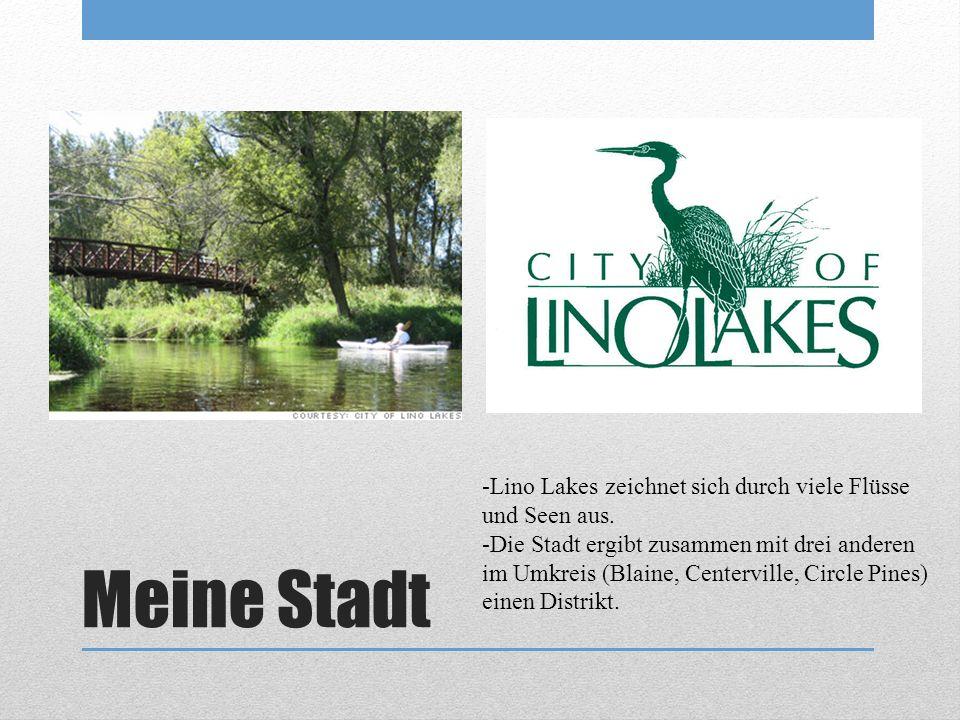 Meine Stadt -Lino Lakes zeichnet sich durch viele Flüsse und Seen aus. -Die Stadt ergibt zusammen mit drei anderen im Umkreis (Blaine, Centerville, Ci