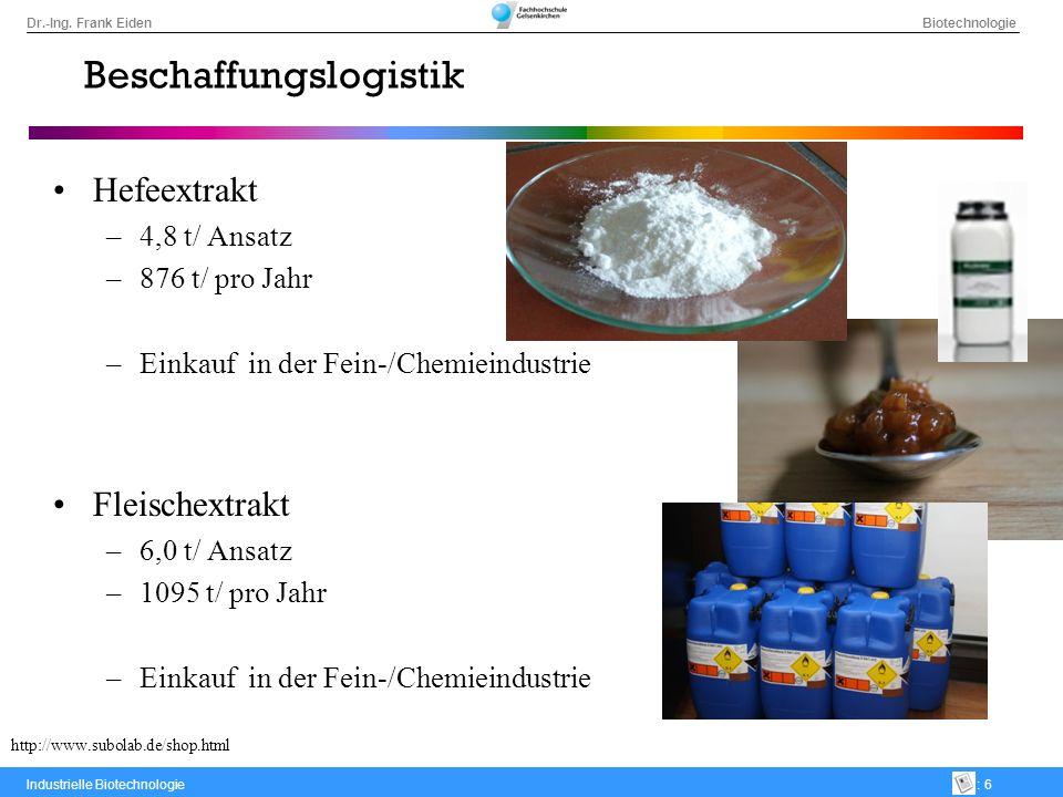 Dr.-Ing. Frank Eiden Biotechnologie Industrielle Biotechnologie: 6 Beschaffungslogistik Hefeextrakt –4,8 t/ Ansatz –876 t/ pro Jahr –Einkauf in der Fe