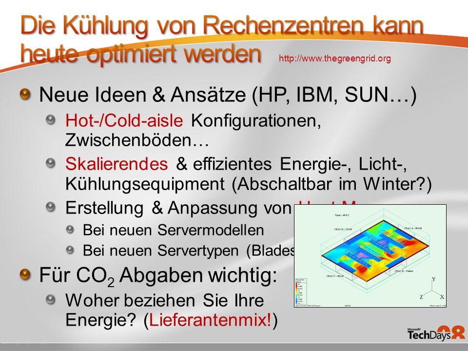 Neue Ideen & Ansätze (HP, IBM, SUN…) Hot-/Cold-aisle Konfigurationen, Zwischenböden… Skalierendes & effizientes Energie-, Licht-, Kühlungsequipment (Abschaltbar im Winter?) Erstellung & Anpassung von Heat-Maps Bei neuen Servermodellen Bei neuen Servertypen (Blades) Für CO 2 Abgaben wichtig: Woher beziehen Sie Ihre Energie.