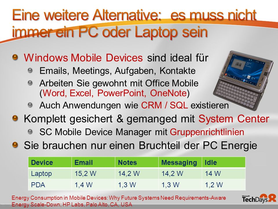 Windows Mobile Devices sind ideal für Emails, Meetings, Aufgaben, Kontakte Arbeiten Sie gewohnt mit Office Mobile (Word, Excel, PowerPoint, OneNote) Auch Anwendungen wie CRM / SQL existieren Komplett gesichert & gemanged mit System Center SC Mobile Device Manager mit Gruppenrichtlinien Sie brauchen nur einen Bruchteil der PC Energie DeviceEmailNotesMessagingIdle Laptop15,2 W14,2 W 14 W PDA1,4 W1,3 W 1,2 W Energy Consumption in Mobile Devices: Why Future Systems Need Requirements-Aware Energy Scale-Down; HP Labs, Palo Alto, CA, USA