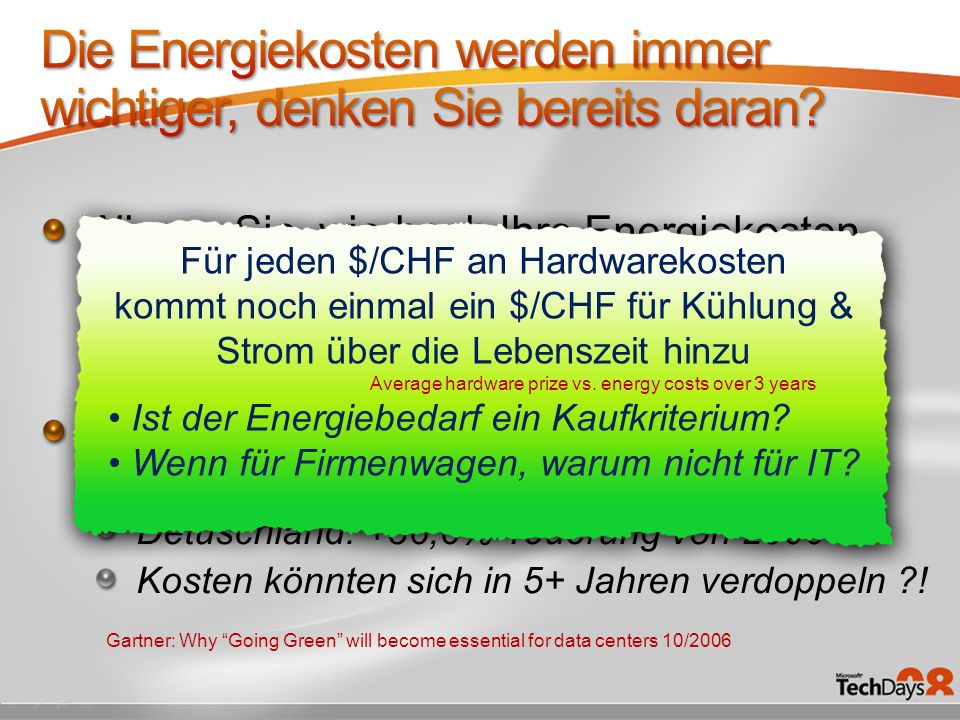 Wissen Sie, wie hoch Ihre Energiekosten sind? Laut Gartner: um 4% – 7% vom IT Budget! Glauben Sie, die Energiekosten werden in Zukunft etwa sinken? De