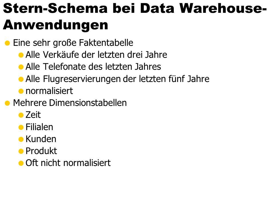 Stern-Schema bei Data Warehouse- Anwendungen Eine sehr große Faktentabelle Alle Verkäufe der letzten drei Jahre Alle Telefonate des letzten Jahres All