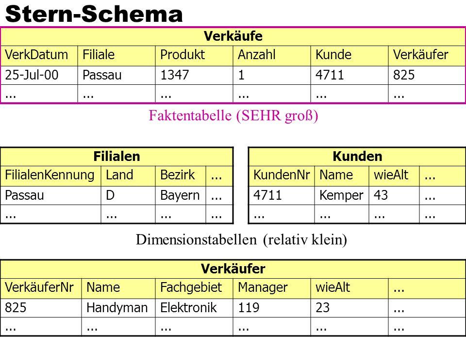 Stern-Schema Verkäufe VerkDatumFilialeProduktAnzahlKundeVerkäufer 25-Jul-00Passau134714711825... Filialen FilialenKennungLandBezirk... PassauDBayern..