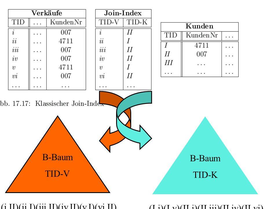B-Baum TID-V (i,II)(ii,I)(iii,II)(iv,II)(v,I)(vi,II)... B-Baum TID-K (I,i)(I,v)(II,i)(II,iii)(II,iv)(II,vi)...