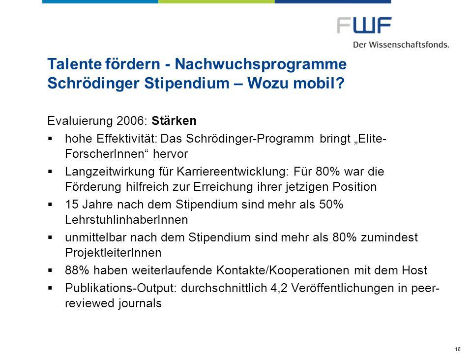 Talente fördern - Nachwuchsprogramme Schrödinger Stipendium – Wozu mobil? Evaluierung 2006: Stärken hohe Effektivität: Das Schrödinger-Programm bringt