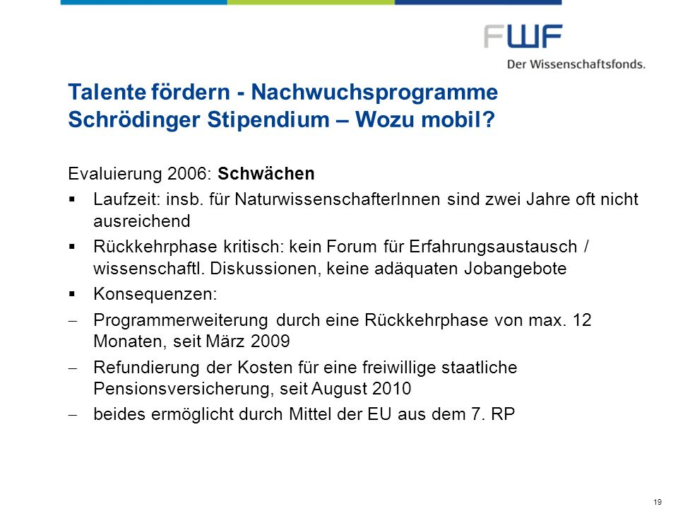 Talente fördern - Nachwuchsprogramme Schrödinger Stipendium – Wozu mobil? Evaluierung 2006: Schwächen Laufzeit: insb. für NaturwissenschafterInnen sin
