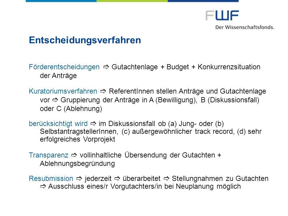Entscheidungsverfahren Gutachtenlage + Budget + Konkurrenzsituation der Anträge Förderentscheidungen Gutachtenlage + Budget + Konkurrenzsituation der
