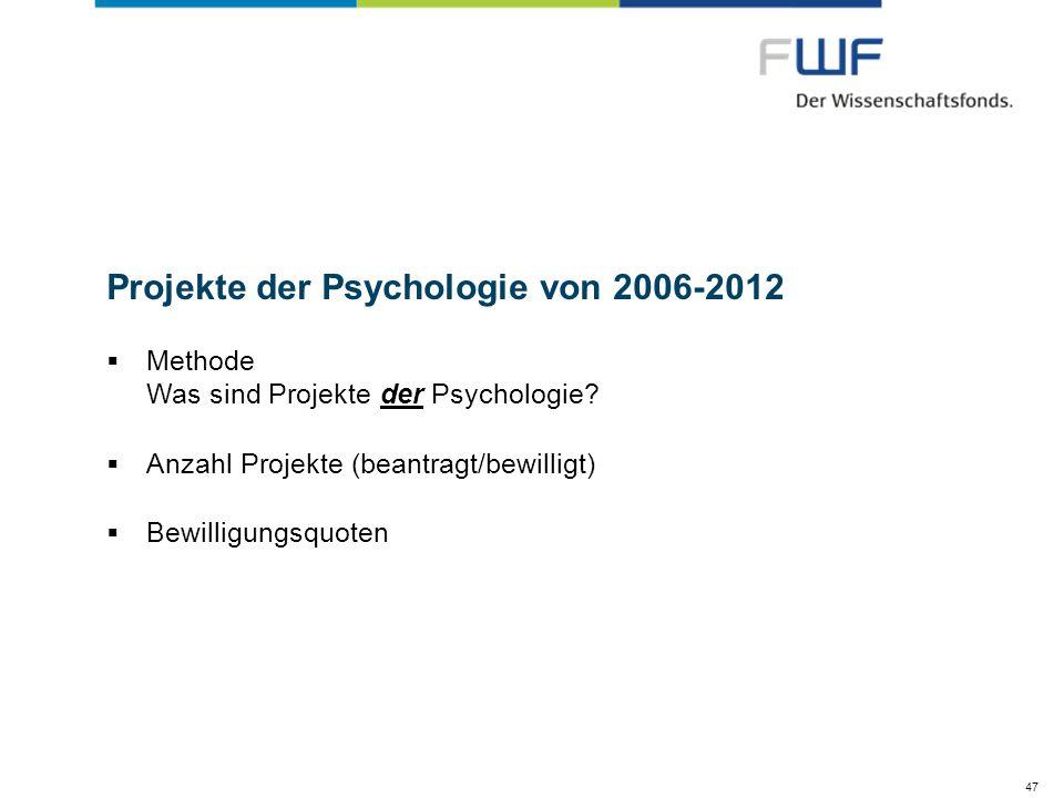 47 Projekte der Psychologie von 2006-2012 Methode Was sind Projekte der Psychologie? Anzahl Projekte (beantragt/bewilligt) Bewilligungsquoten