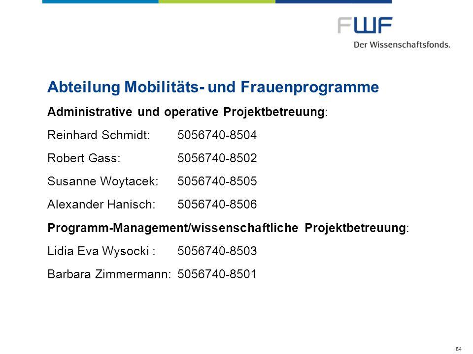 Abteilung Mobilitäts- und Frauenprogramme Administrative und operative Projektbetreuung: Reinhard Schmidt:5056740-8504 Robert Gass: 5056740-8502 Susan