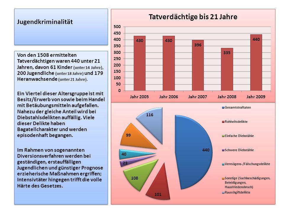 Jugendkriminalität Von den 1508 ermittelten Tatverdächtigen waren 440 unter 21 Jahren, davon 61 Kinder (unter 14 Jahre), 200 Jugendliche (unter 18 Jah
