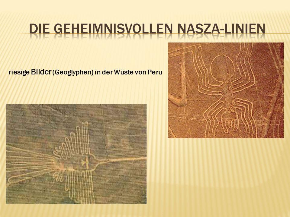 riesige Bilder (Geoglyphen) in der Wüste von Peru