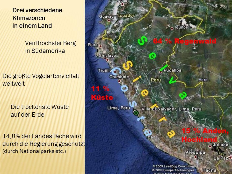64 % Regenwald 15 % Anden, Hochland 11 % Küste Drei verschiedene Klimazonen in einem Land Vierthöchster Berg in Südamerika Die trockenste Wüste auf der Erde Die größte Vogelartenvielfalt weltweit 14,8% der Landesfläche wird durch die Regierung geschützt (durch Nationalparks etc.)