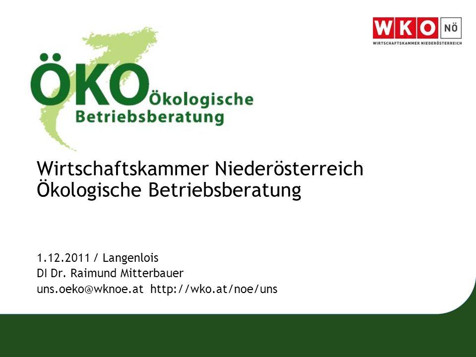 Wirtschaftskammer Niederösterreich Ökologische Betriebsberatung 1.12.2011 / Langenlois DI Dr. Raimund Mitterbauer uns.oeko@wknoe.at http://wko.at/noe/