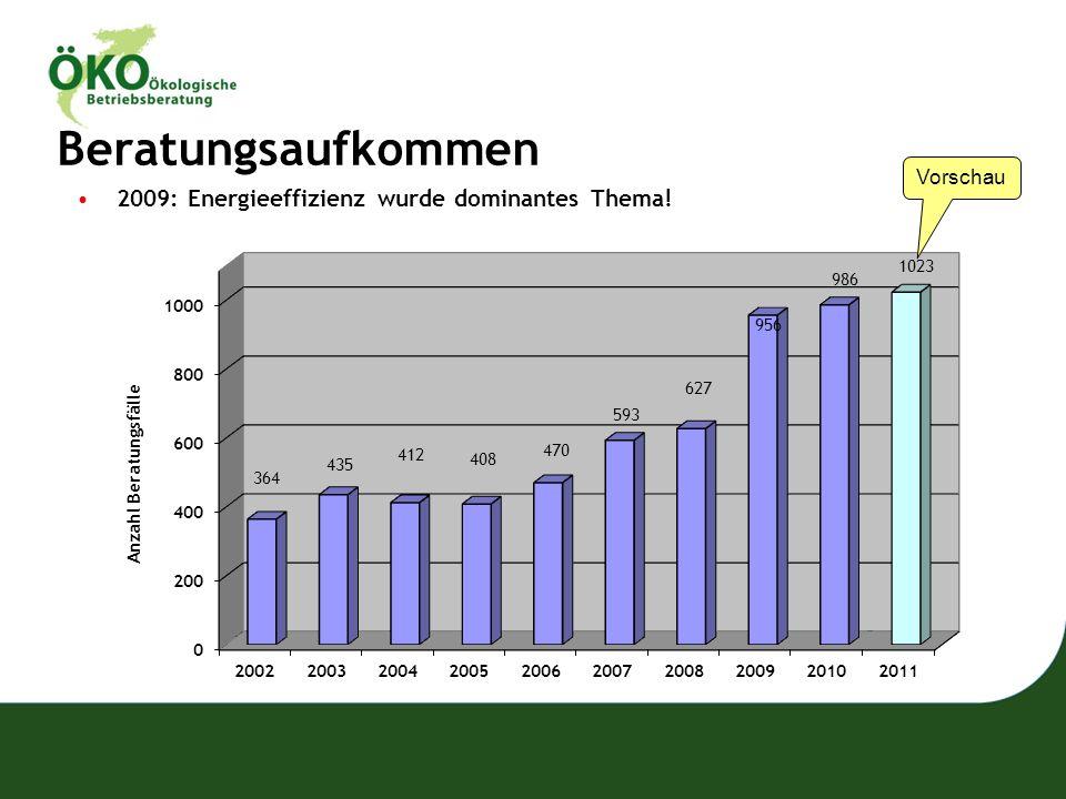 Beratungsaufkommen 2009: Energieeffizienz wurde dominantes Thema! Vorschau
