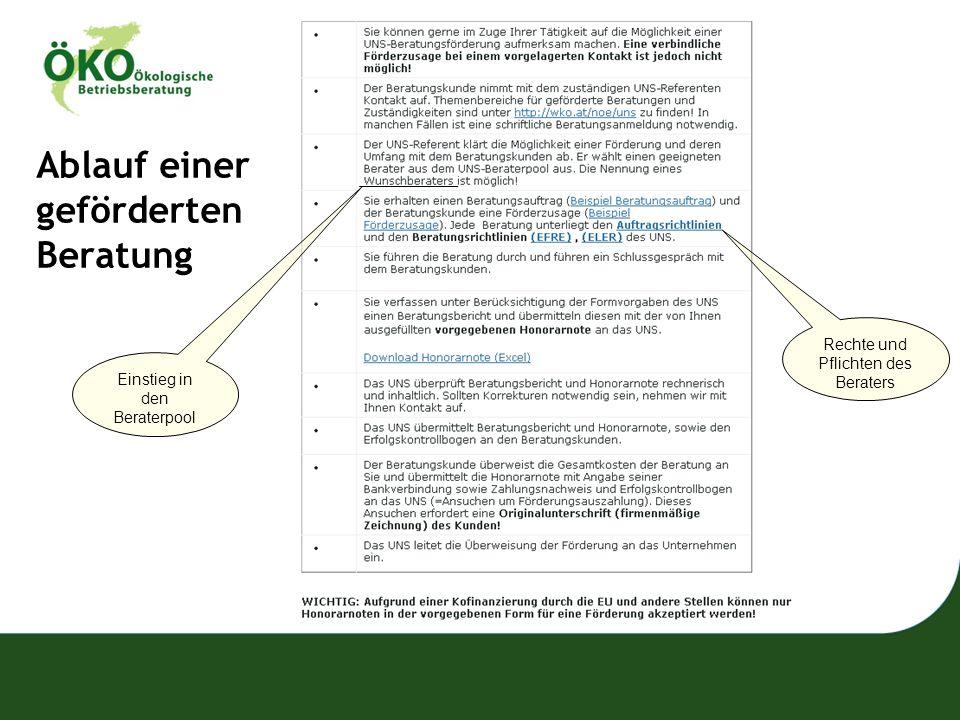 Ablauf einer geförderten Beratung Einstieg in den Beraterpool Rechte und Pflichten des Beraters
