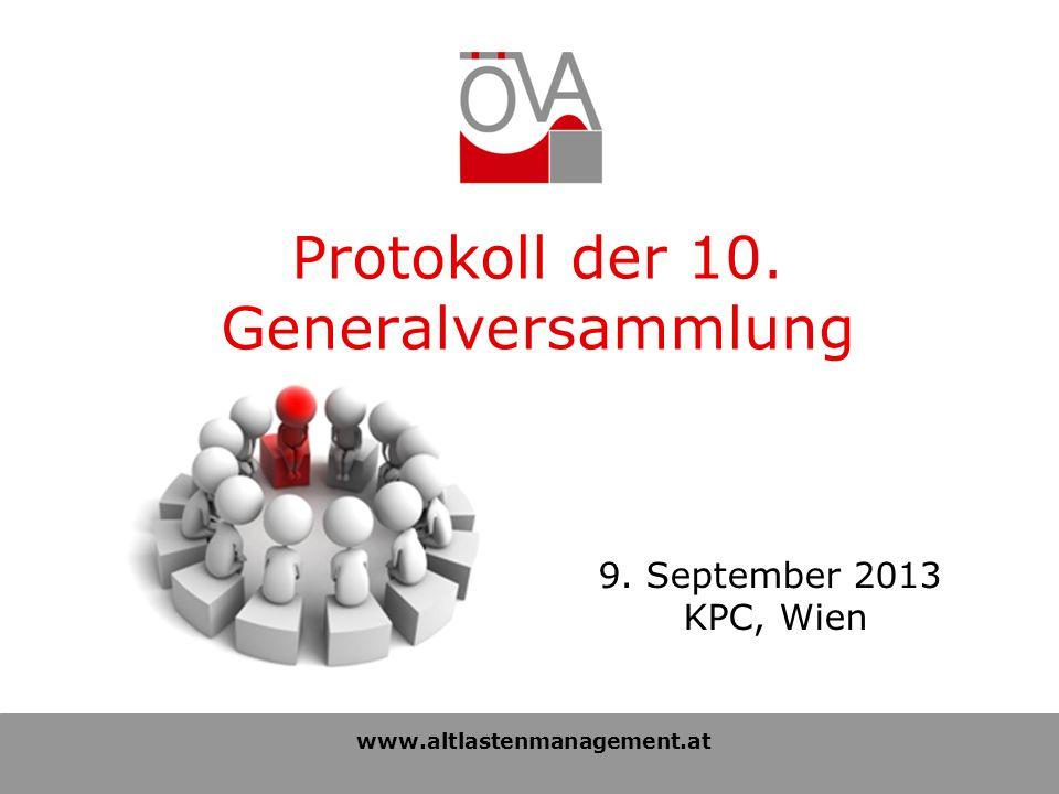 Tagesordnung der 10.Generalversammlung 1.Begrüßung 2.Protokoll der 9.